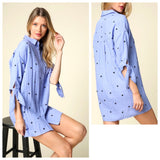 Blue Star Print Button Down Shirtdress with Sleeve Ties