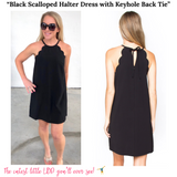 Black Scalloped Halter Dress with Keyhole Back Tie