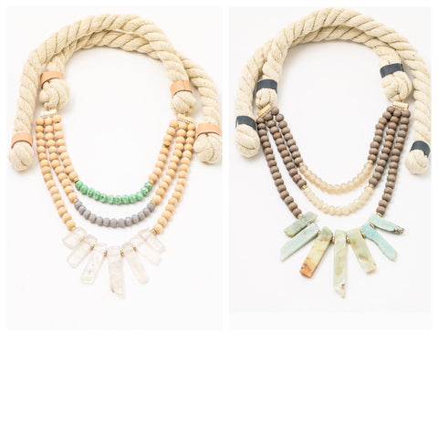 Multi Strand Natural Stone Wood & Rope Necklace