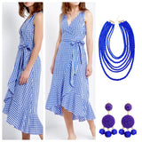 Royal Blue and White Gingham Midi Dress with Tie Waist