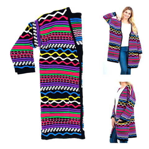 Black Multicolor Open Front Cardigan with Abstract Textured Embroidery & Pockets