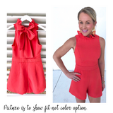 Light Coral Ruffle Neck Romper with Bow Back & POCKETS