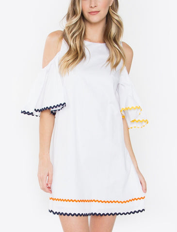 White Cold Shoulder Dress with Orange Blue and Yellow Wavy Ribbon Trim