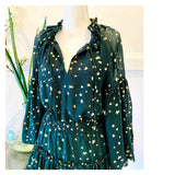 Emerald Green & METALLIC Gold Foil Star Balloon Sleeve Dress with Smocked Waist
