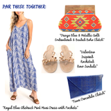 Royal Blue Abstract Print Maxi Dress with Pockets