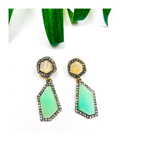 Jade & Rhinestone Drop Earrings