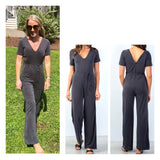 Charcoal Short Sleeve V-Neck & V-Back Wide Leg Jumpsuit with Waist Tie