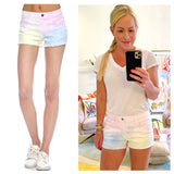 Pastel Tye Dye Distressed Hem High Waisted Denim Shorts