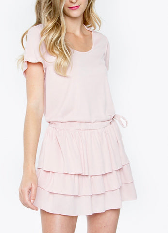 Blush Pink Ruffle Drop Waist Dress with Waist Tie