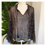 Black METALLIC Gold & Silver Lurex Leopard Print Bell Sleeve Top with Ruffle Sleeve Detail & Optional Tassel Tie