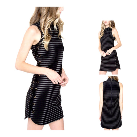 Black White Stripe Ponte Lace Up Dress with Back Zip & Mock Neck