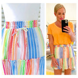 Rainbow Stripe Ruffle Trim Flare Skirt with Drawstring Waist