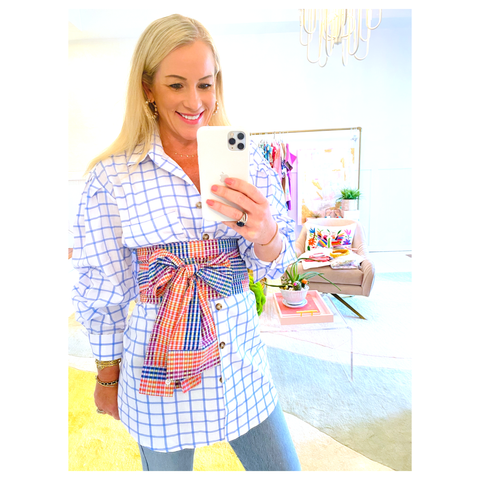 Blue & White Button Down Top with Detachable Rainbow Waist Tie