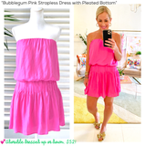 Bubblegum Pink Strapless Dress with Pleated Bottom