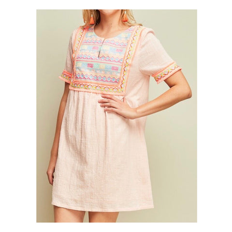 Peach Embroidered Shift Dress with Fringe Hem On Sleeves & Bib