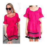 Magenta Bell Sleeve Belted Dress with Ric Rac Embroidery & Tassel Hem