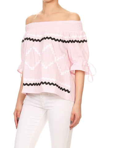 Pink Pin Stripe 3/4 Sleeve Top with wavy ribbon trim & tie sleeves
