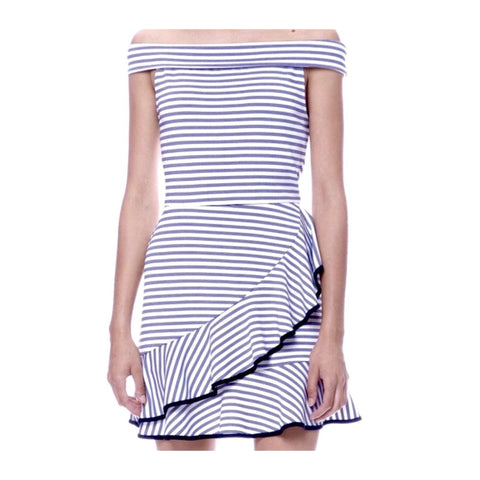 Black Stripe Off the Shoulder A-Line Dress with Contrast Cascading Ruffle Hem