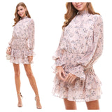 Pink Floral Flounce Dress with Smocked Waist & Ruffle Sleeves