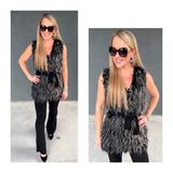 Black White Faux Fringe Fur Vest with Suede Back Contrast & Suede Self Tie Waist