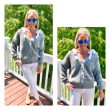 Grey Cable Knit Off the Shoulder Sweater with White Shoulder Ties