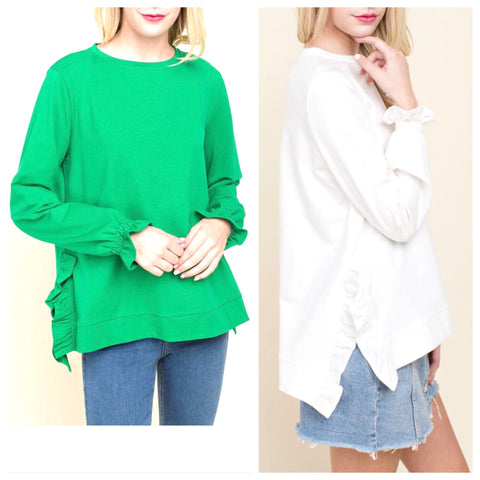 Kelly Green or Ivory French Terry Ruffle Hem Top with Smocked Sleeves