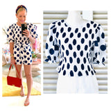 White & Navy Ikat Dot Smocked Top with Ruffle Trim Puff Sleeves