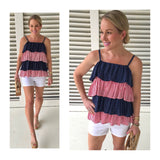 Red Stripe & Navy Dots Tiered Cami