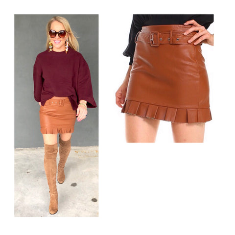 Camel PU Leather Skirt with Ruffle Hem & Belt