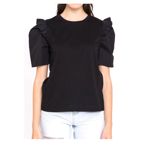 Black Ruffle Sleeve Poplin Knit Top