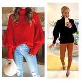 Black or Red Knit Balloon Sleeve Sweater with Banded Waist