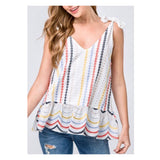 White Tie Shoulder Multicolor Eyelet Lace Circle Wave Peplum Cami