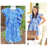 Blue & White Floral Print Ruffle Sleeve Dress with Shirred Hem & Keyhole Back