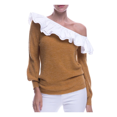 Caramel One Shoulder Sweater with White Ruffle Trim