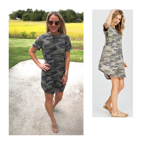 Short Sleeve French Terry Camo Shirtdress with Cuffed Sleeves & POCKETS