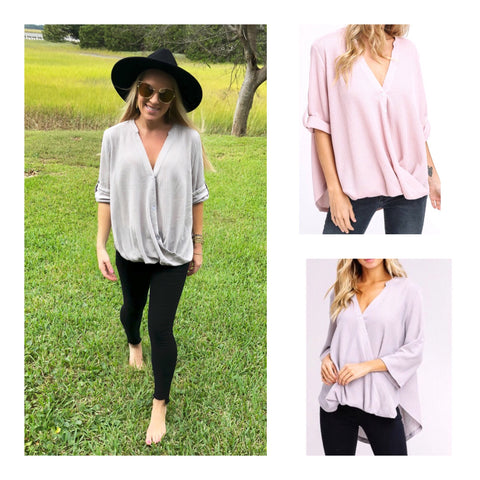 Light Grey or Light Pink Thermal High Low Top with Asymmetrical Buttons