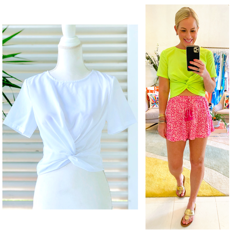 Electric Lime OR White Twist Front Tee with Keyhole Back