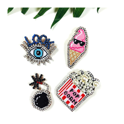 Handmade Crystal Rhinestone Embroidered Emoji Lapel Pins