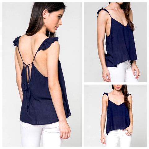 Navy Spaghetti Strap Cami with Ruffle Detail and Tie Back