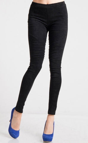 Suede Moto Leggings, Black