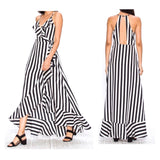 Black White Stripe Ruffle Wrap Front Maxi Dress