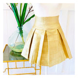 Gold High Waisted Pleated Jaquard Flared Skater Skirt