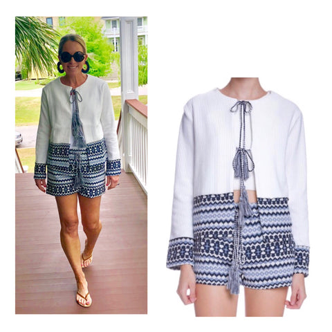 White & Navy Woven Contrast Jacket with Tassel Ties (Matching Shorts Sold Separately)