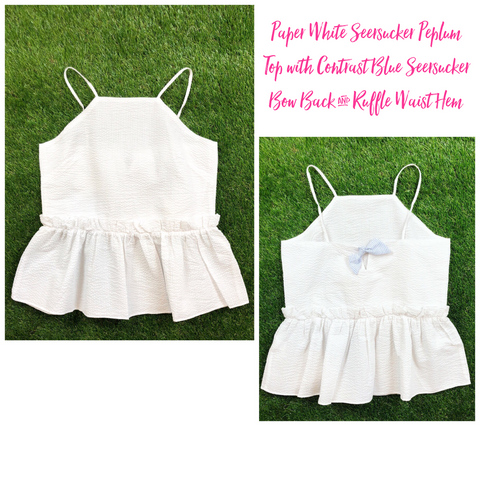 Paper White Seersucker Peplum Top with Contrast Blue Seersucker Bow Back & Ruffle Waist Hem