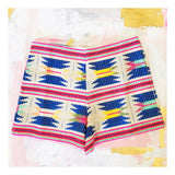 Blue & Neon Aztec Embroidered High Waisted Jacquard Shorts