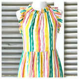 Pastel Rainbow Ruffle Neck Dress with Bow Back & POCKETS