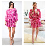 Magenta Floral Ruffle Hem Dress with Keyhole Back & Tie Waist