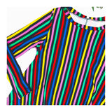 Rainbow Stripe High Low Swing Dress with Pockets
