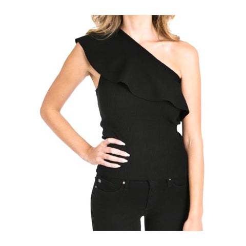 Black Ribbed Knit One Shoulder Ruffle Top