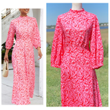 Pink & White Floral Print 3/4 Length Puff Sleeve A-Line Midi Dress with Banded Waist